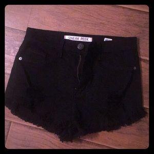 Sneak Peek black stretch Jean shorts frayed